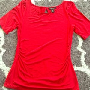 Red 3/4 Sleeve Rouche sided Shirt